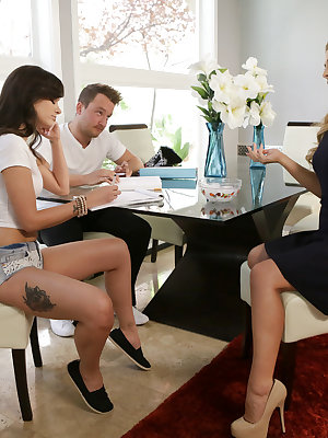 Gia Paige and her boyfriend Van Wylde are trying to beat the heat by working on their homework when Gia's stepmom Cherie Deville joins them with a bowl of ice cubes. Knowing she has Van's attention, Cherie rubs the ice all over her skin. Then she peels he