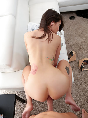 Tight little hottie Gia Paige is on a mission of sexual satisfaction as she flaunts her assets in a tank top and a short miniskirt. Unable to keep her clothes on, the horny brunette has soon peeled off her clothes and hopped onto the couch so that she can