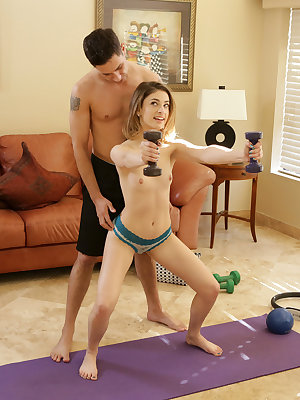 Kristen Scott works hard to keep her certified nubile body in shape. She teases her small tits while she's working out, leaving her primed for the post-workout sex that keeps her truly motivated! When Brad Knight joins Kristen, he finds her nearly naked a