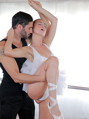 Petite cutie Riley Reid works on her dance routine until her partner Damon Dice shows up. Although they start their practice innocently enough, but soon their sexual tension gets the best of them. Pulling Riley's thong aside, Damon feasts on her landing s