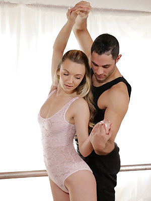 Perky cutie Molly Mae is having trouble getting her ballet routine right, so she keeps trying to practice. Part of her trouble is that she can't keep her hands from her tender boobs or her juicy bald twat beneath her leotard. Her coach Damon Dice has the