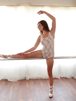 Lusty Melissa Moore has just completed her ballet warmup when her teacher Van Wylde joins her. They work on their routine together, but soon their lusty urges get in the way of their practice. Before long, Van has peeled off Melissa's sheer leotard so tha