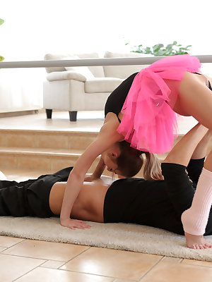 Cum hungry Katy Rose gets her petite body all warmed up as she works out on the barre, but she allows herself to be distracted by her dance coach Ricky Rascal. Ricky loves watching Katy work out, but he's even more into pulling up her miniskirt, peeling a