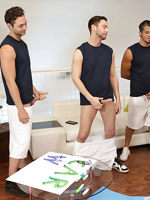 Brad Sterling, Seth Gamble, and Bambino are having an after school get together to make signs for their football team's fundraiser. They show off their signs to their teacher, Jennifer White, but when Bambino pops a chubbie things take a sexual turn. Soon