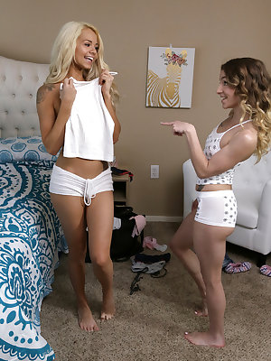 Elsa Jean has her friend Alana Summers over for a slumber party. They share some girl talk, and then Alana models a bra and panties for Elsa. Soon they're snapping photos to send to the object of their desire, unaware that Elsa's stepbrother Alex D. is pe