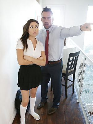Teen Melissa Moore is ready to go to school without any panties beneath her uniform, but her stepdad Johnny Castle catches her before she can leave the house. He sends her upstairs to get dressed, but Melissa decides to masturbate instead. She's right on