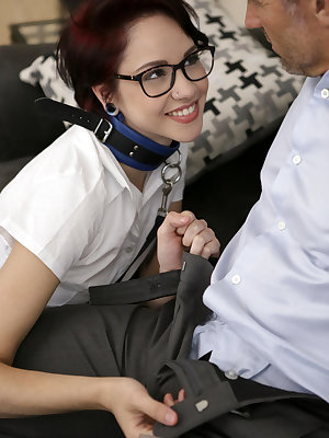 Cadey Mercury gets ready for school with makeup and her uniform, but as she's on her way out the door she runs into her stepdad Marcus London. He warns her that if he catches her fucking off instead of going to school one more time, he'll put a leash and