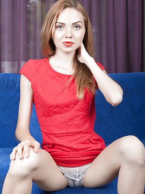 Alisa Chearry is in her new red dress while relaxing on her blue couch. She takes the red dress and white lingerie off, and shows off her body. She has a slender figure and a inviting hairy pussy.
