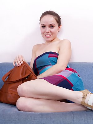 Hairy sexy Gretta loves herself and it shows in this sexy shoot on the couch. The clothes come off and she's even more confident in showing us her beautiful pussy.