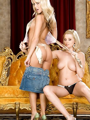 2 cute blonde lesbians lick pussy and fuck with dildos
