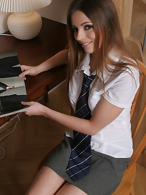 Check out Nicky getting naughty as a schoolgirl