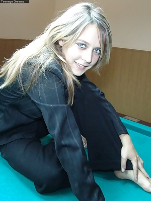 Liza gets naked on the pool table