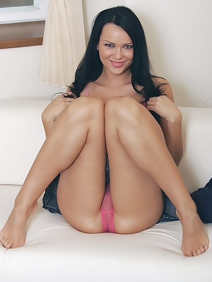 Hot brunette with sexy pink panties