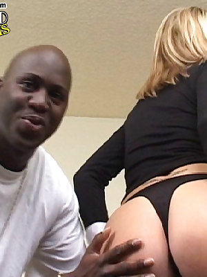 Blonde chick nailed by three huge black dicks