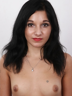 Tiny and wild. Pavlina is a lovely Czech amateur. We've never had such a delicate and slim model here. This sweet black-haired babe with sparkling eyes is terribly horny. She came to fuck in front of the camera for money. She has a thing for sex in p