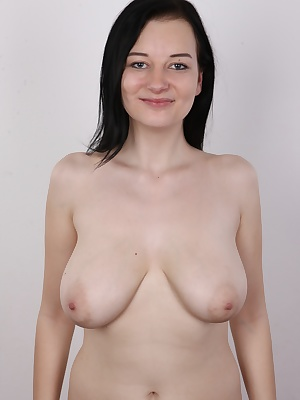 Jana could breastfeed quadruplets at once! You'll love her if you have a thing for ample breasts. She'll expose her exemplary tits to the whole world today! This black-haired singer has never shown her body publicly. Our horny cameraman is the f