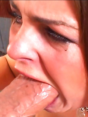 Throat fucked bitch gets spunked in the mouth