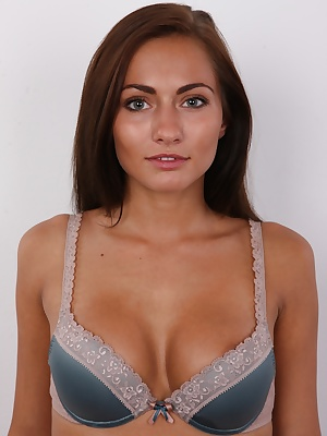 Just beautiful! Words are useless. Just take a look at this fantastic Czech amateur. Smiling spontaneous brunette Michaela made the famous white couch shine like autumn sun. 23 years old exhibitionist who loves in gentle in the sack told us she gets turne