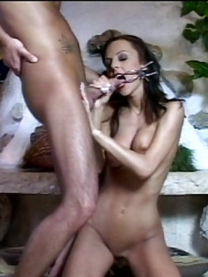 Kinky babe's mouth is forced open and swallows jizz