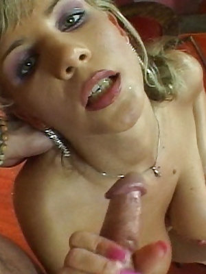 Naughty blue-eyed blonde gives a firm handjob
