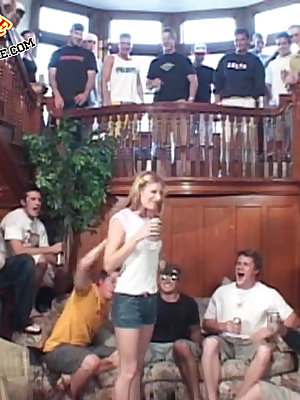 Nasty girl fucks the whole fraternity house