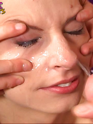 Redhead's eyes are spread open to accept a cumshot
