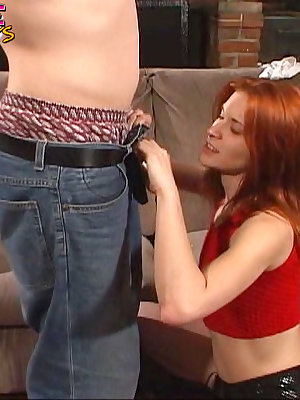 Redhead has tears of cum running down her face