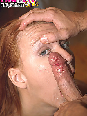 Redhead opens wide for a sperming right in the eye