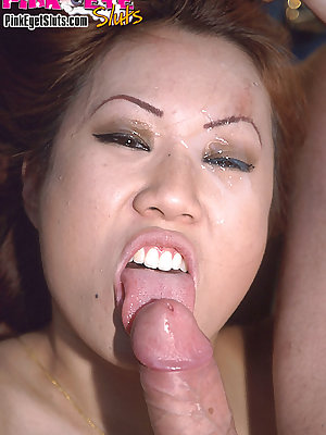 Asian slut's eyes are filled up with man glue