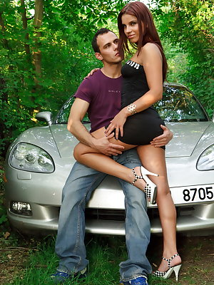Suzy was slurping on his huge cock till it was ready for hardcore ass fucking right on the hood of her car