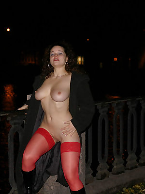 Party girl with a shaved pussy flashing