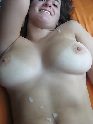 Naughty slut getting load on her face and big boobs