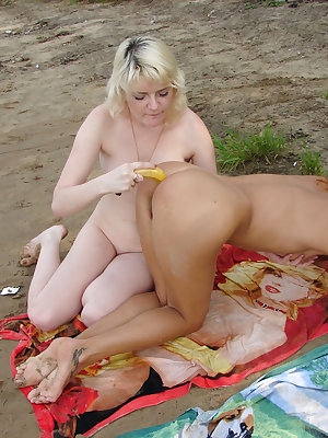 Dirty lesbian nipple sucking that leads to a banana used like a sex toy inside a pussy