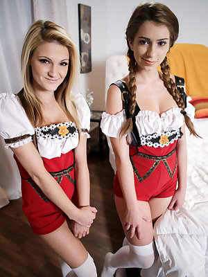 Horny coeds Hope Harper and Joseline Kelly get dressed up for a night at Oktoberfest with Chad White. When the trio arrives home, Chad is horny as hell from the girls' antics in their costumes and Hope and Joseline are happy to help him out by wrapping th