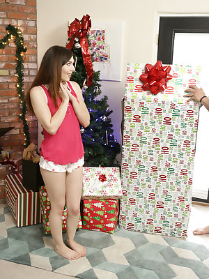 Ember Stone has a Christmas surprise for her boyfriend Damon Dice! She has purchased a Riley Reid doll, the sexiest present a guy could want, and Damon can't wait to unwrap her. Damon and Ember take their time playing with Riley before carrying her to the