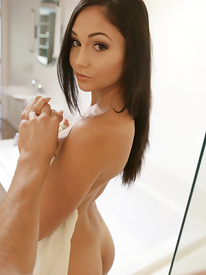 Sex kitten Ariana Marie can't help but show off for Tyler Nixon when he joins her in the bathroom while she's in the shower. Pressing her boobs against the glass door and swaying her hips, she entices him to give her everything she craves. Once she has to