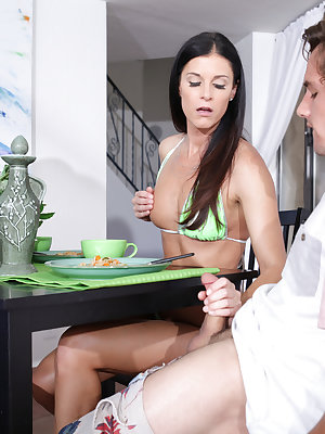 Tysen Rich visits her boyfriend Van Wylde and his stepmom India Summers over a breakfast that turns sexual fast as India lets her hands wander all over Tysen's tits and pussy and Van's hard cock. When Van's father leaves the room, all bets are off between
