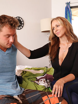 Julia Ann is cleaning up in her stepson Van Wylde's room when she finds a used condom on the floor. She and Van have a heart to heart, where Van reveals that sex between him and his girlfriend Halle Von was awkward because of his big cock. Ever the concer